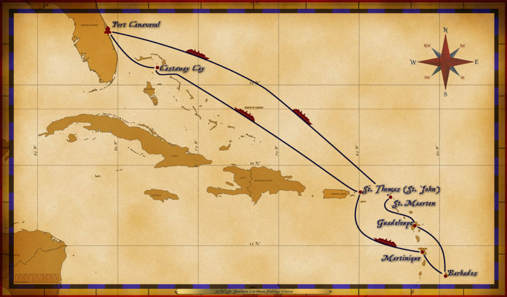 Map Magic 11 Night Southern Caribbean Cruise
