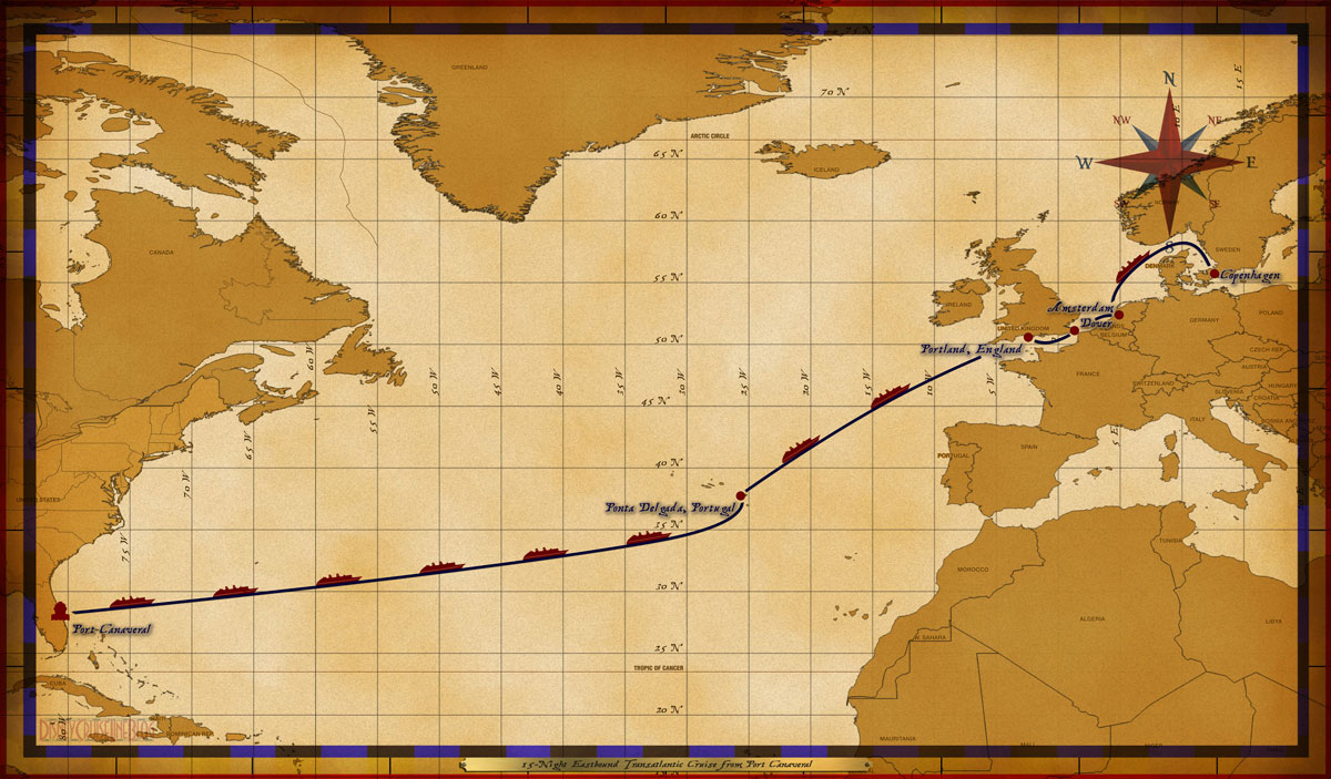 Map Magic 15 Night Eastbound Transatlantic Itinerary 2016