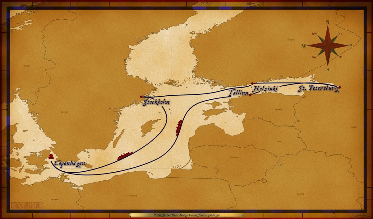 Map Magic 7 Night Northern European Itinerary