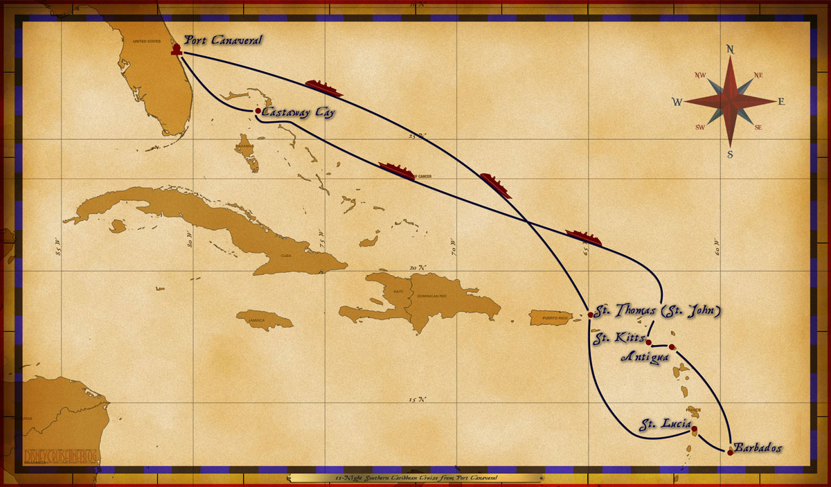 Map Wonder Night Southern Caribbean Cruise The Disney Cruise - Southern caribbean map
