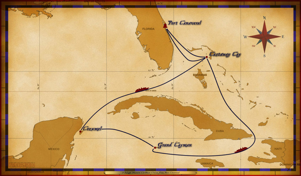 Map Fantasy 7 Night Western Caribbean Itinerary E