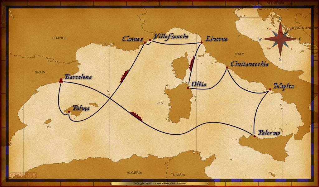 Map Magic 12 Night Mediterranean Cruise 2016 Altered