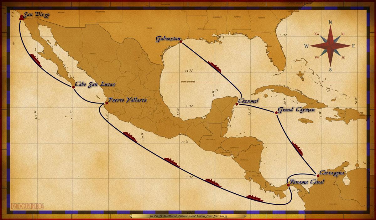 Map Wonder 14 Night Eastbound Panama Canal Cruise 2017