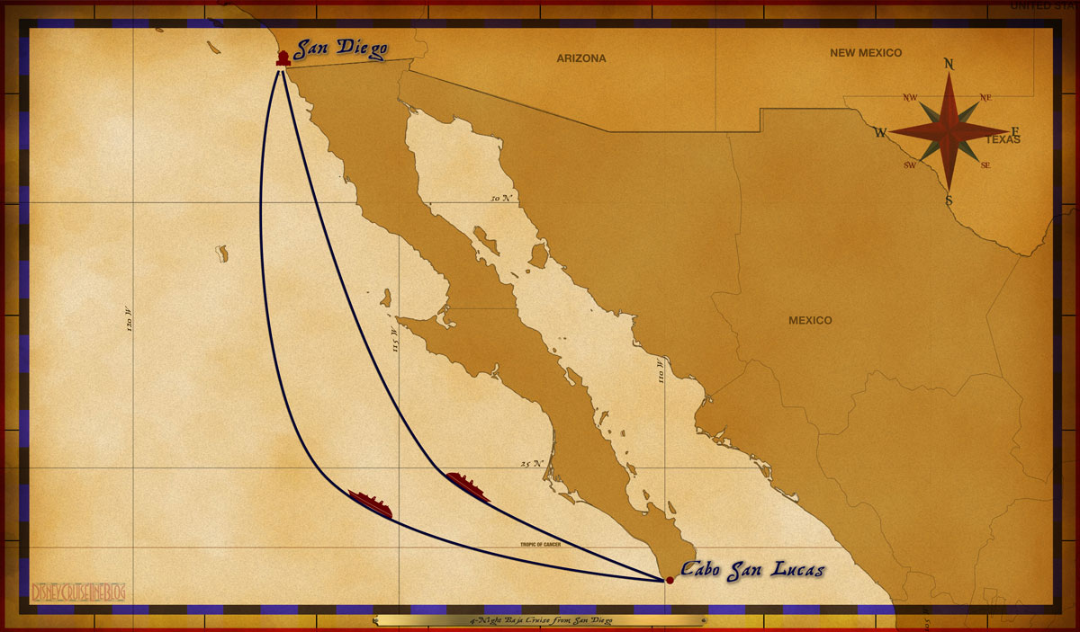 Map Wonder 4 Night Baja Itinerary A