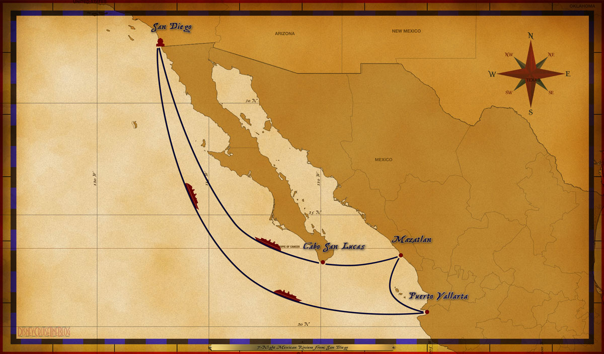 Map Wonder 7 Night Mexican Riviera A
