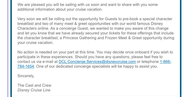 DCL Character Breakfast Meet Greet Reservation Concierge Email