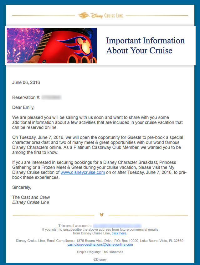 DCL Character Breakfast Meet Greet Reservation Email