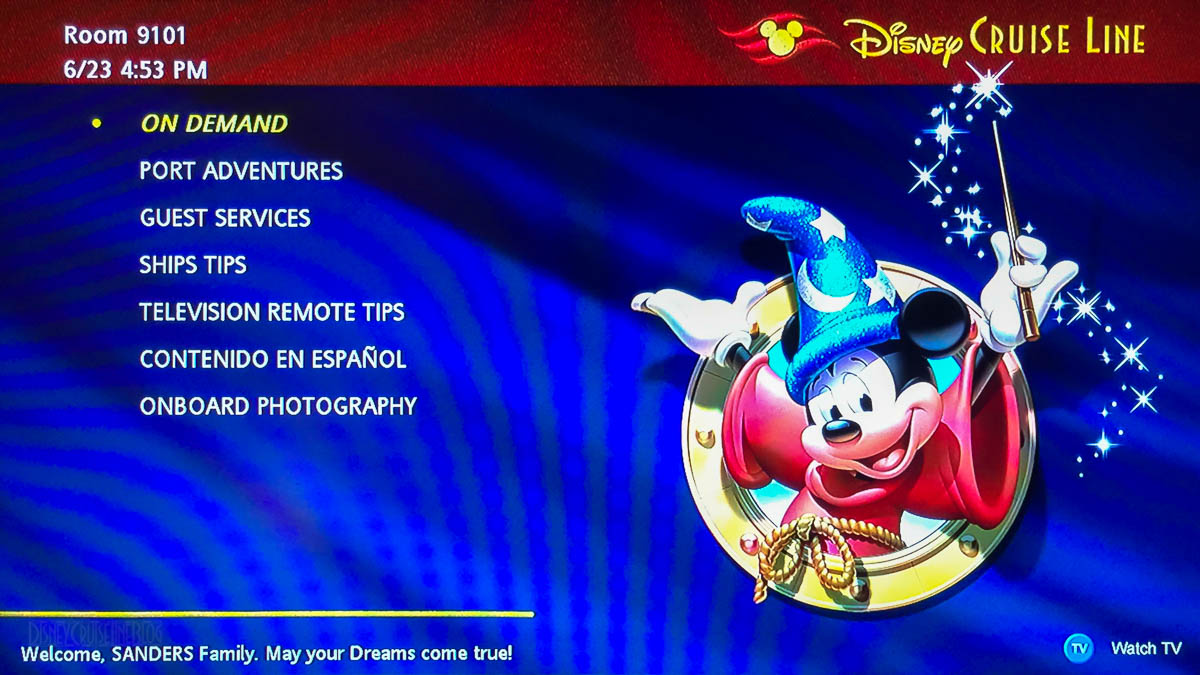 Disney Fantasy Stateroom TV Main Menu