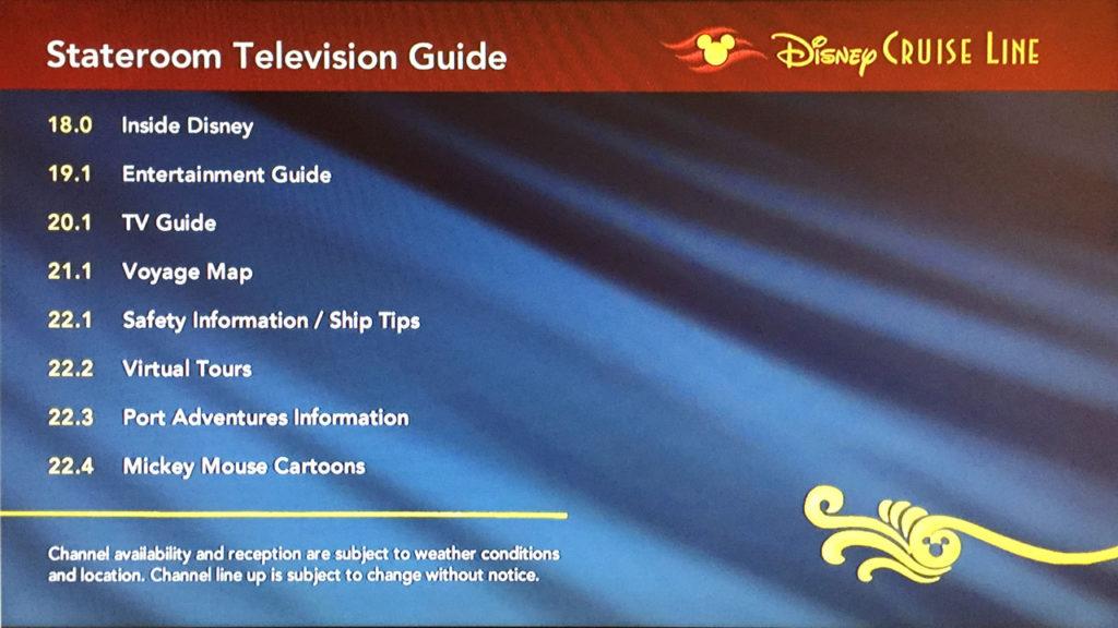 Disney Wonder Stateroom TV Channels