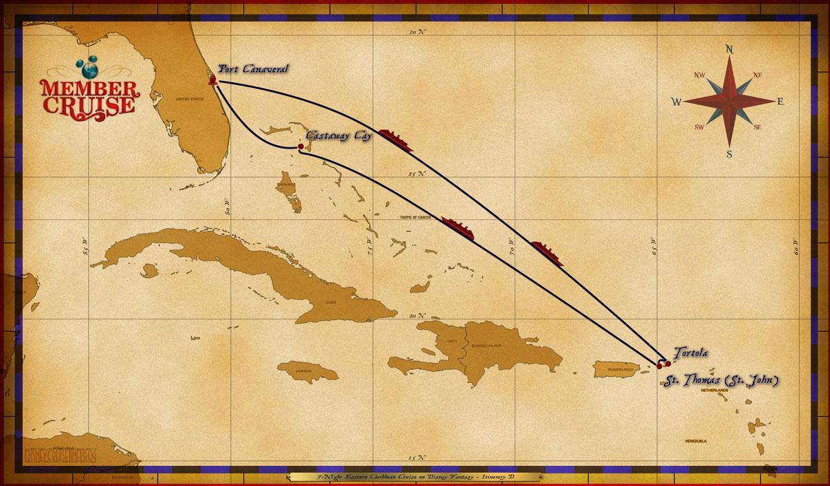 Map Fantasy 7 Night Eastern Caribbean 2017 DVC Member Cruise