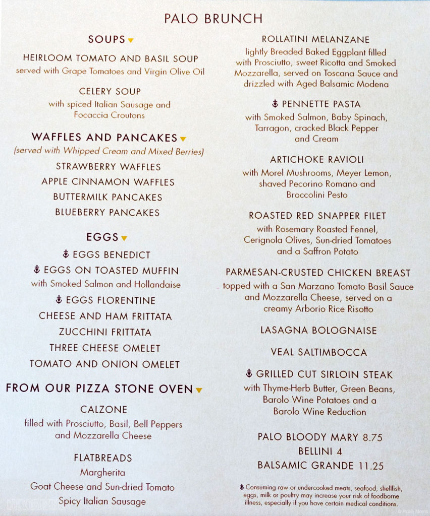Palo Brunch Menu Wonder November 2016