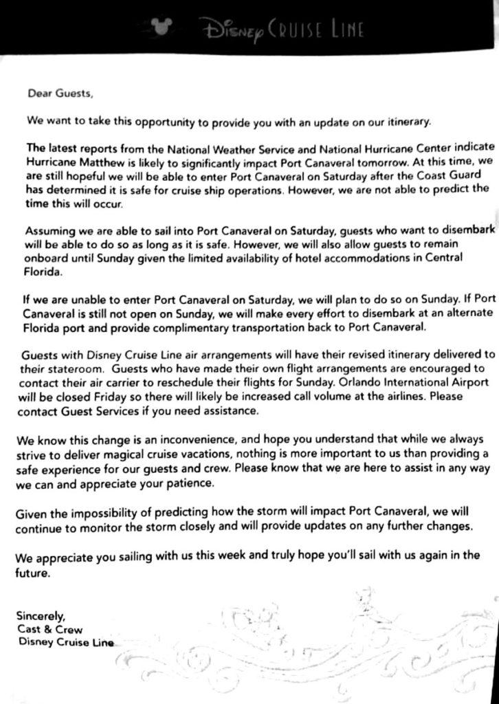 DCL Matthew Dream Passenger Update Letter 20161006