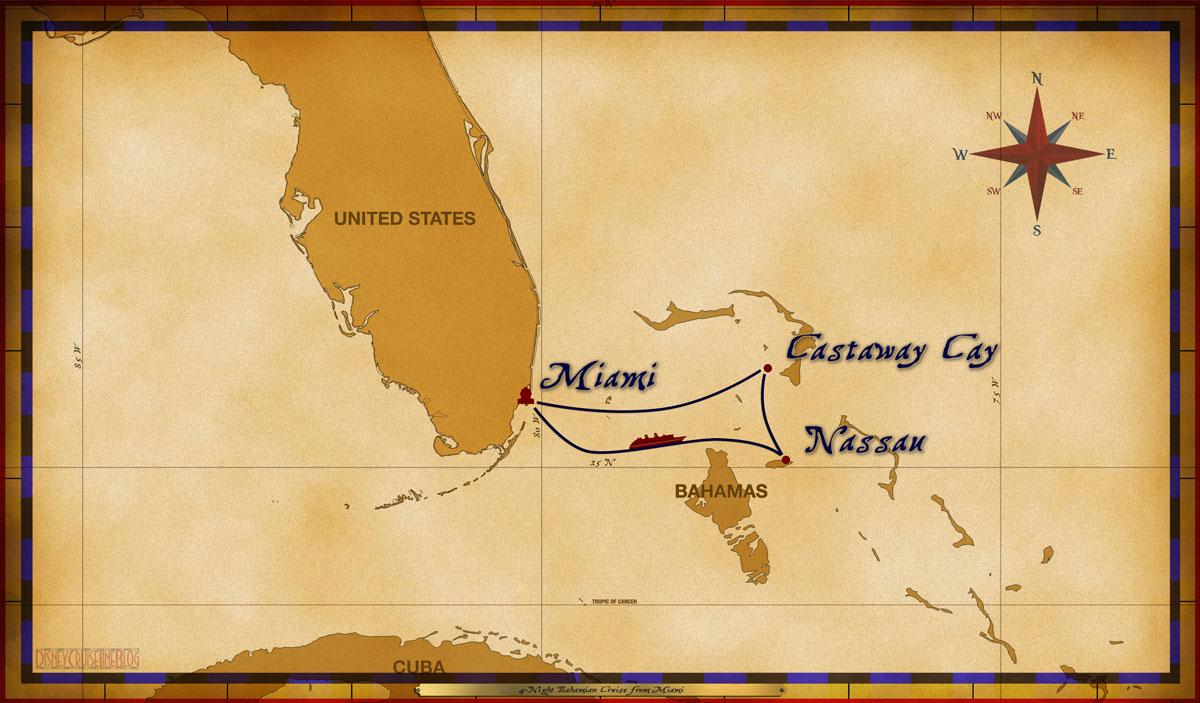 Map Magic 4 Night Bahamian Cruise MIA SEA NAS CC