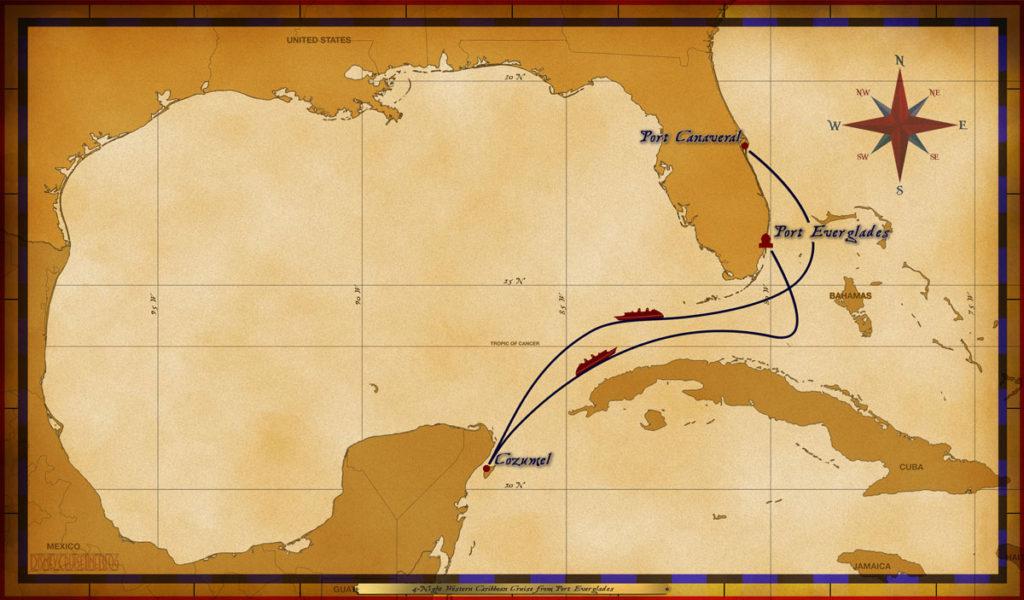 Map Magic 4 Night Western Caribbean Cruise Port Everglades