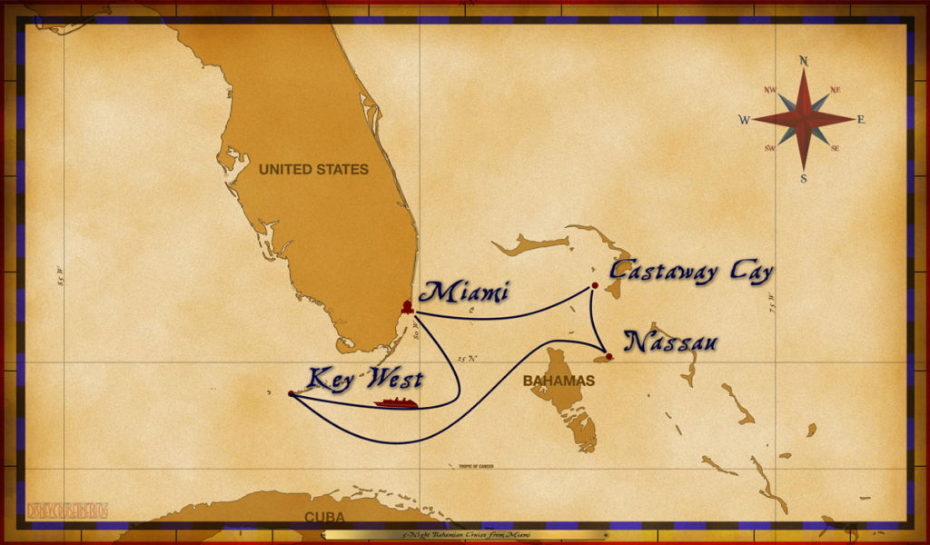 Map Magic 5 Night Bahamian Cruise MIA SEA KW NAS CC