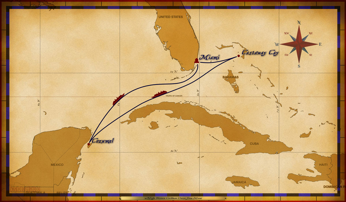 Cruise itinerary reviews - Map Magic 5 Night Western Caribbean Cruise Mia Cc Cz