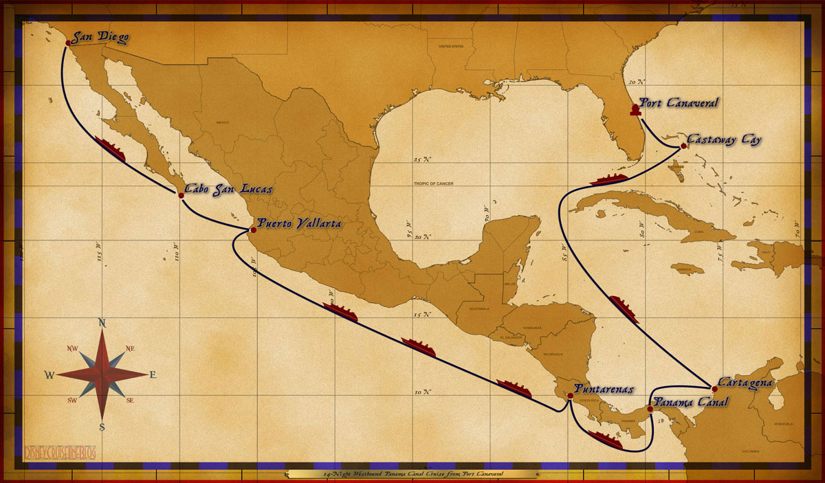 Map Wonder 14 Night Westbound Panama Canal Cruise 2018