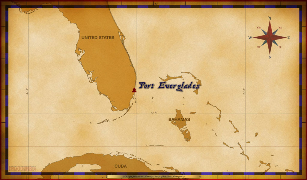 Map Wonder 2 Night Hurricane Frances Cruise Port Everglades