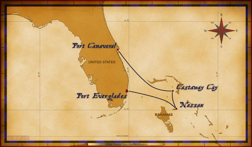 Map Wonder 3 Night Bahamian Cruise Itinerary Port Everglades