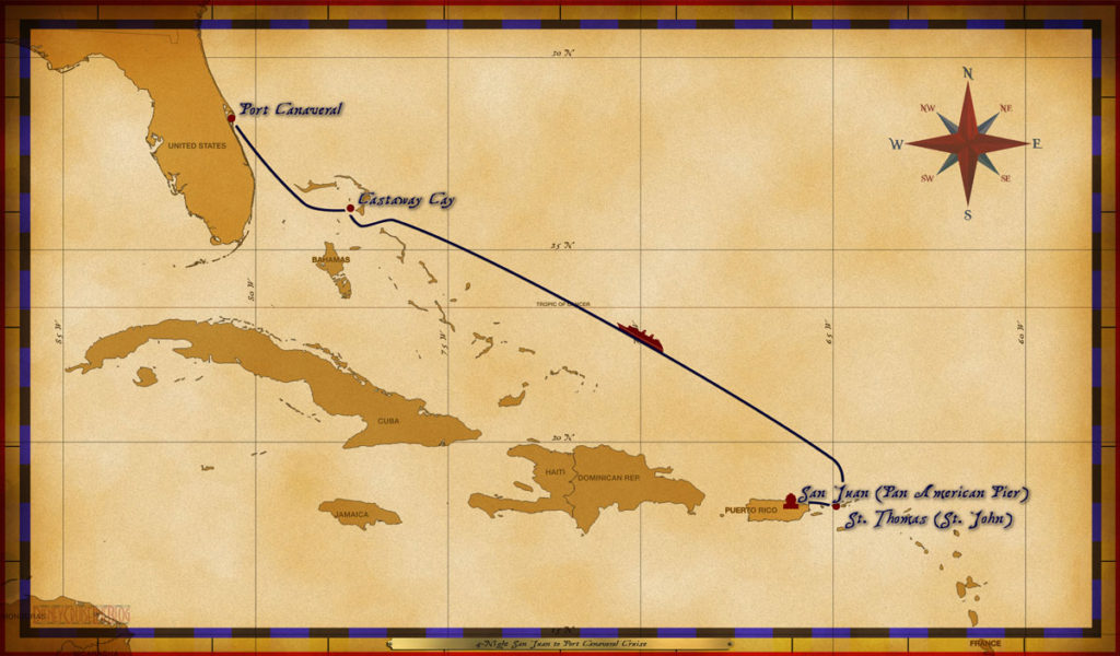 Map Wonder 4 Night San Juan To Port Canaveral Cruise