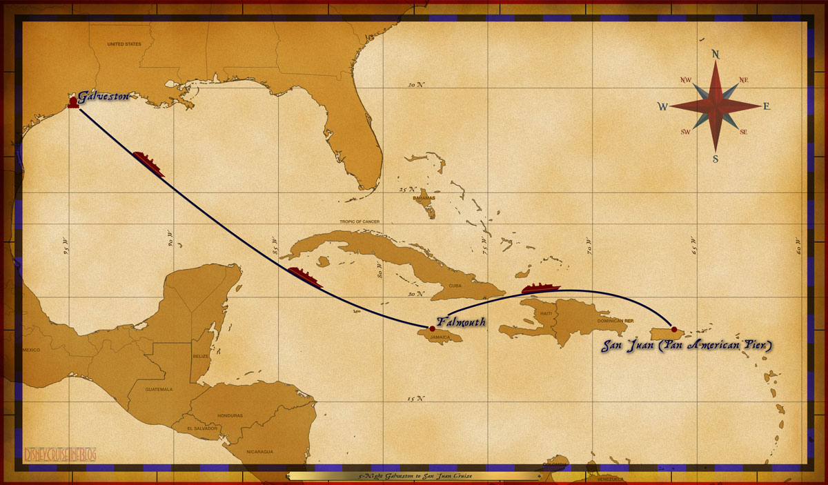 Map Wonder 5 Night Galveston To San Juan Cruise