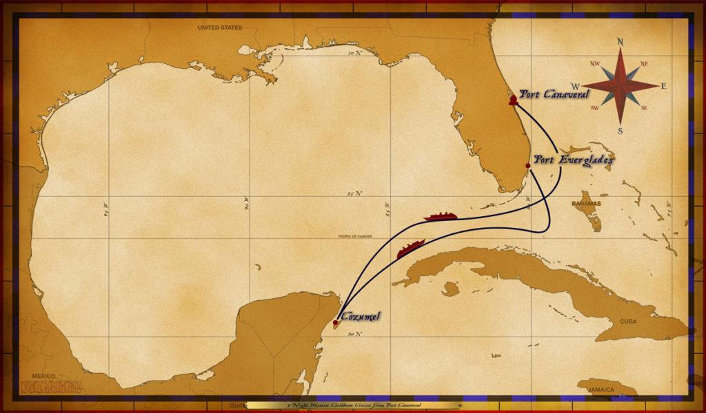 Map Wonder 5 Night Western Caribbean Hurricane Frances