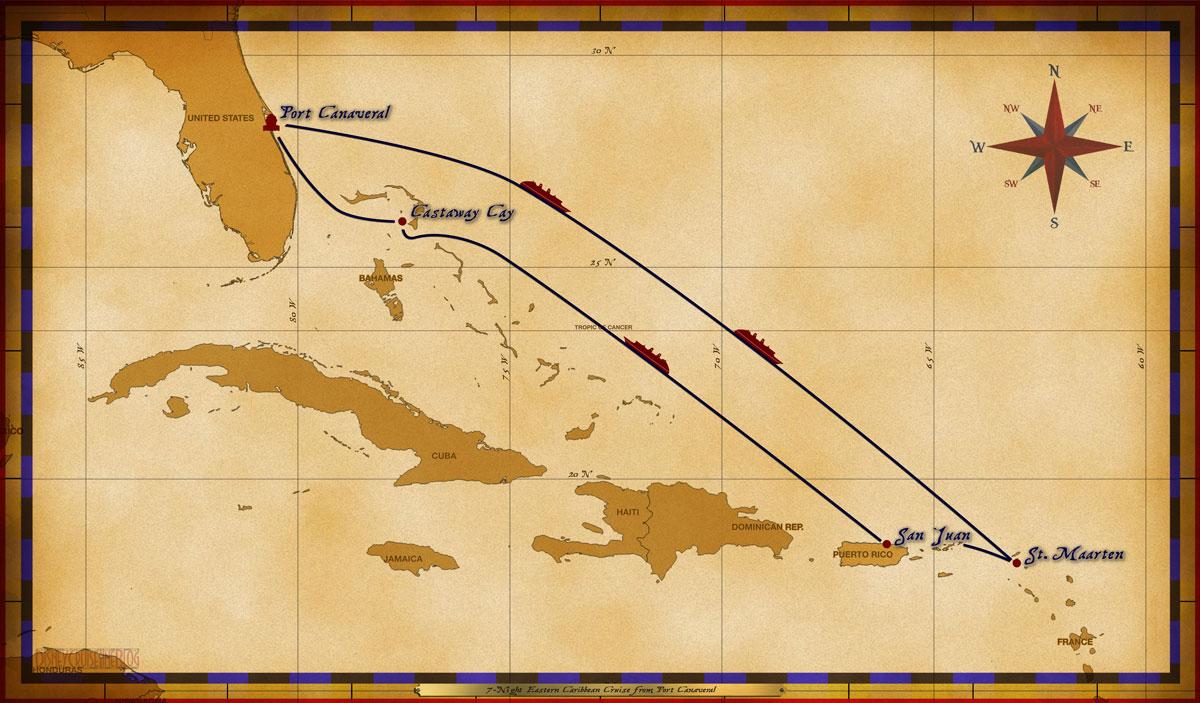 Map Wonder 7 Night Eastern Caribbean PC SMX SJU CC