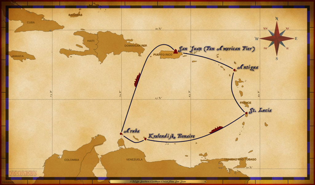 Map Wonder 7 Night Southern Caribbean Cruise SJU ANT StL BON ARU