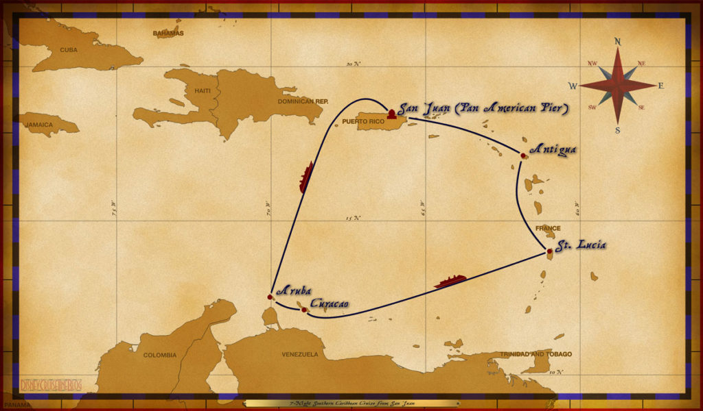 Map Wonder 7 Night Southern Caribbean Cruise SJU ANT StL CUR ARU