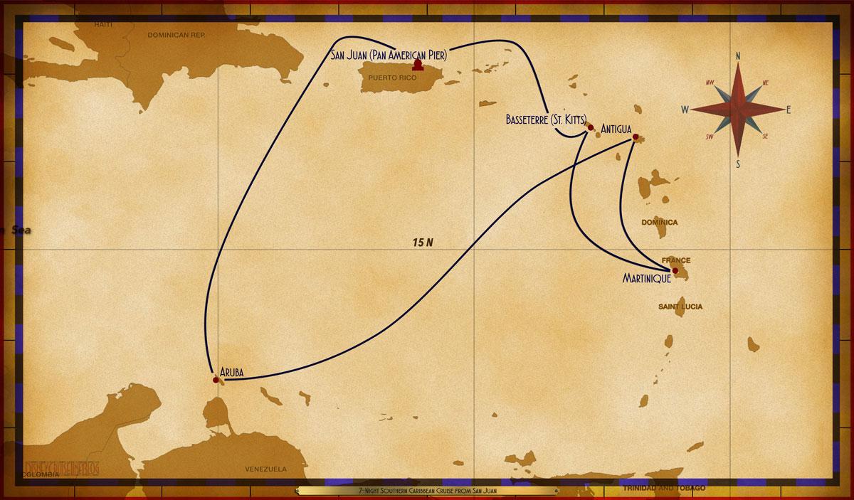 Map Wonder Night Southern Caribbean Cruise SJU BAS MAR ANT ARU - Southern caribbean map