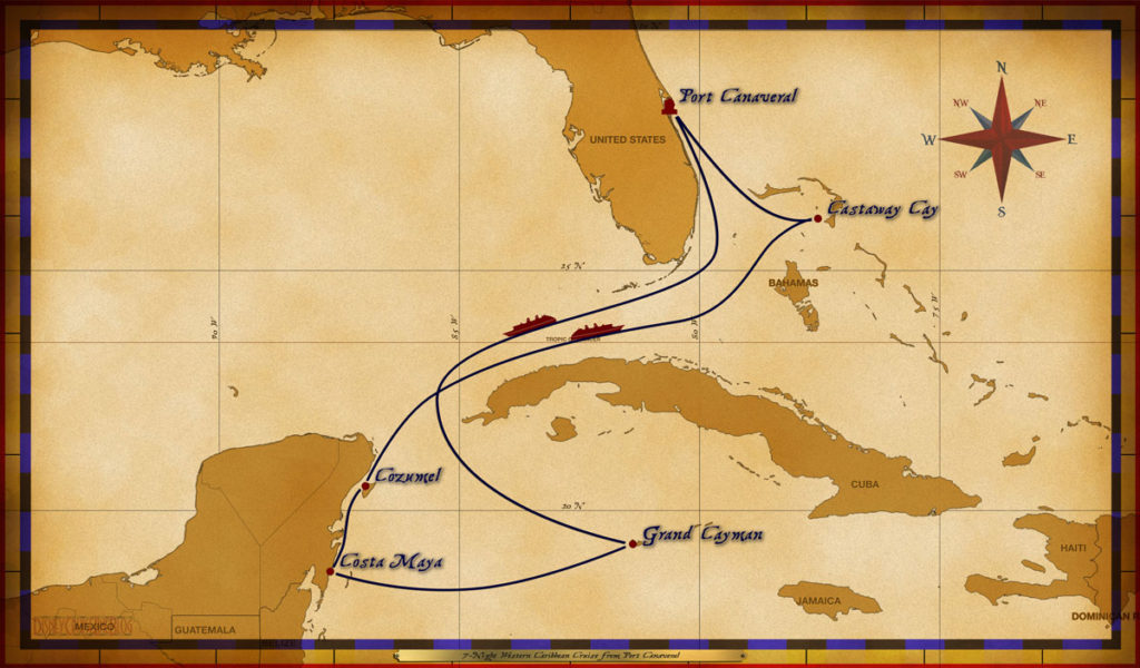 Map Wonder 7 Night Western Caribbean PC GC CM CZ CC