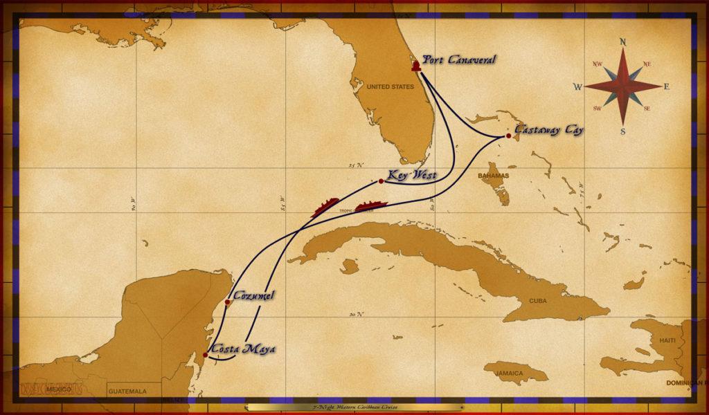 Map Wonder 7 Night Western Caribbean PC KW CM CZ CC