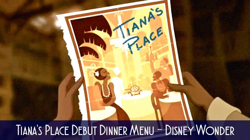 Tianas Place Debut Dinner Menu