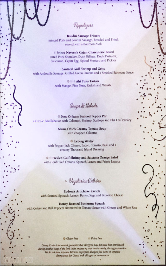 Tianas Place Dinner Menu A December 2016