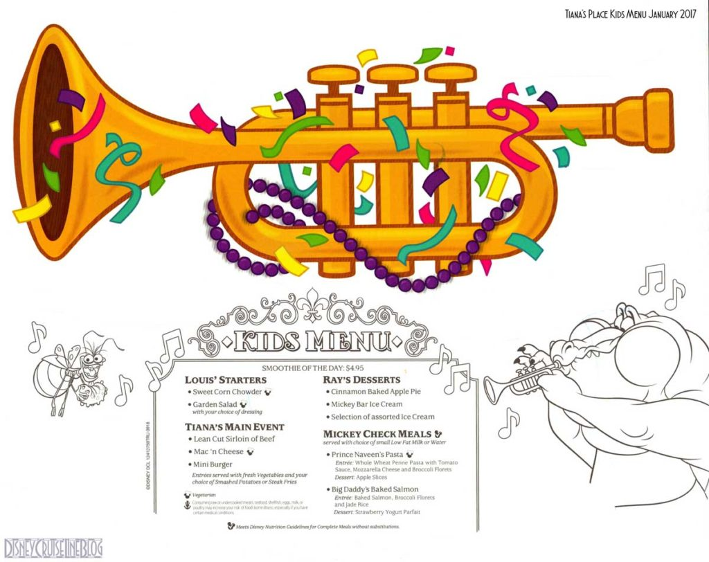 Tianas Place Kids Menu January 2017
