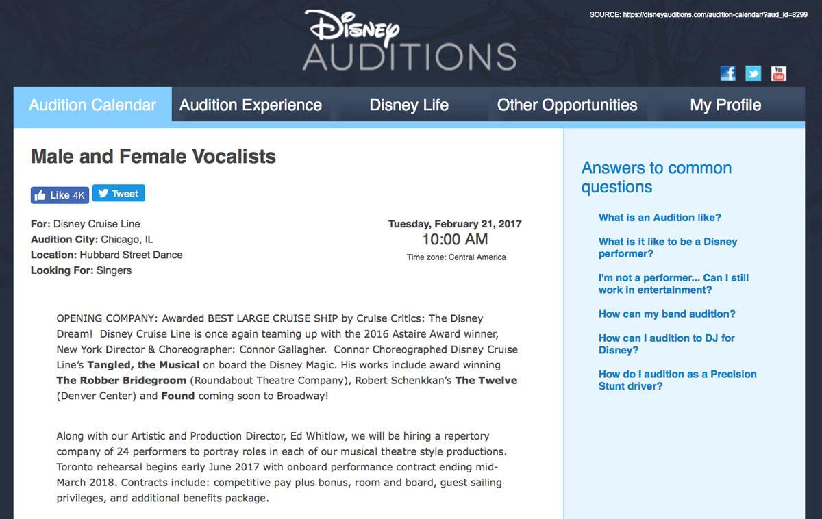 Disney Auditions Beauty Beast Casting January 2017