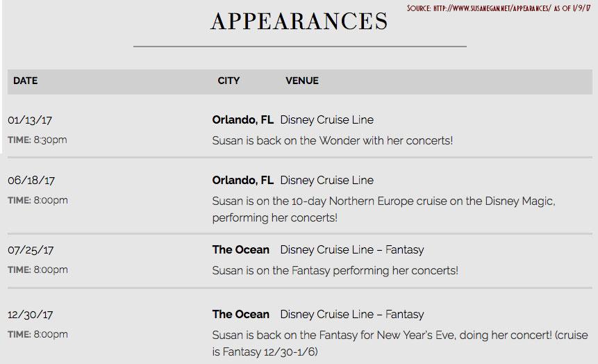 Susan Egan Apperance Schedule