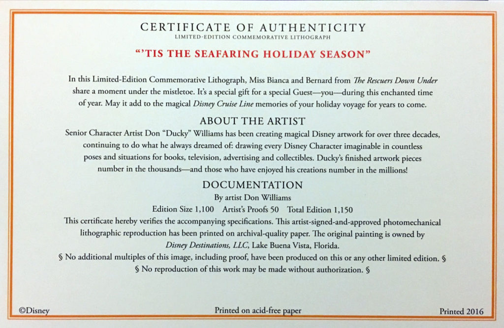 Tis The Seafaring Holiday Season Don Ducky Williams 2016 Certificate