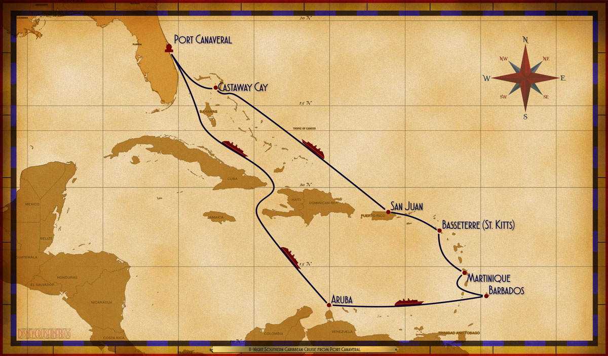 Map Fantasy 11 Night Southern Caribbean Itinerary B