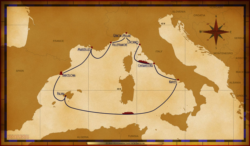 Map Magic 10 Night Mediterranean Cruise Barcelona