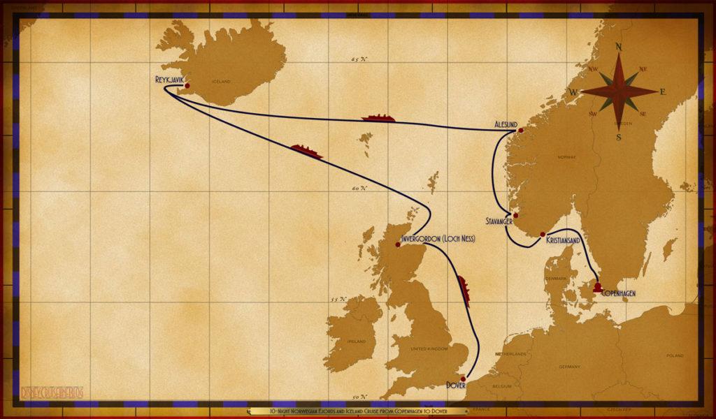 Map Magic 10 Night North Norwegian Fjords Iceland Copenhagen Dover