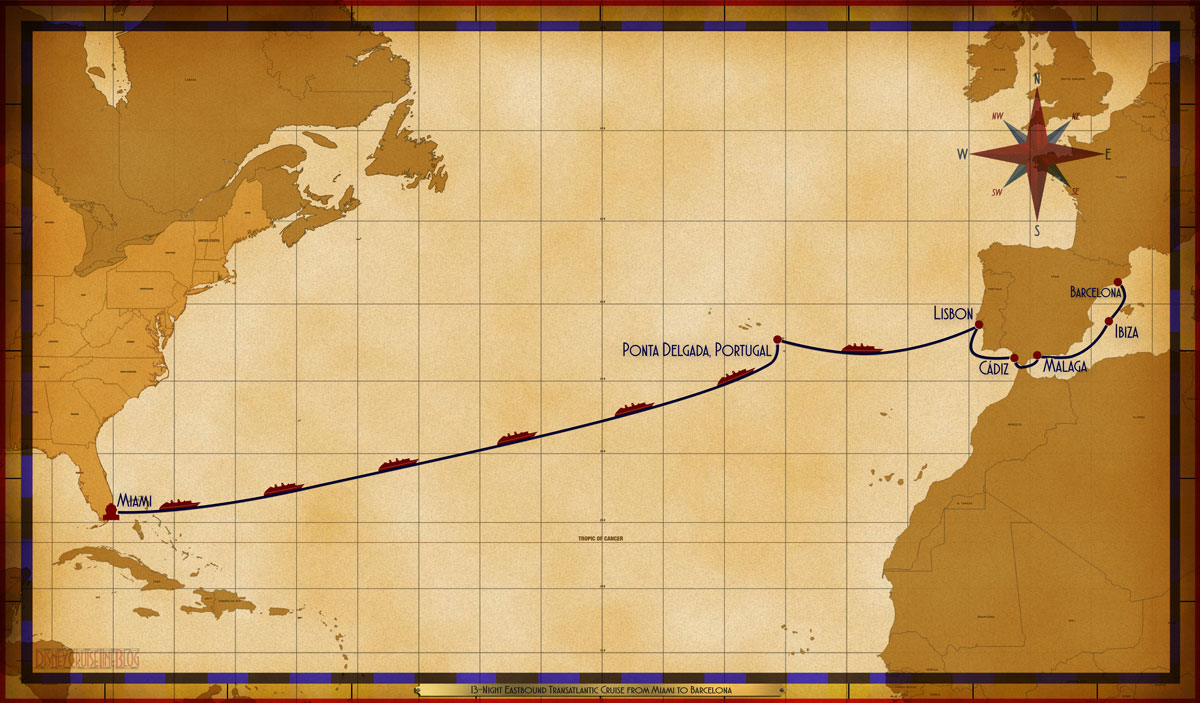 Map Magic 13 Night Eastbound Transatlantic Miami Barcelona