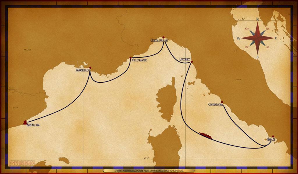 Map Magic 7 Night Mediterranean Cruise Civitavecchia Barcelona