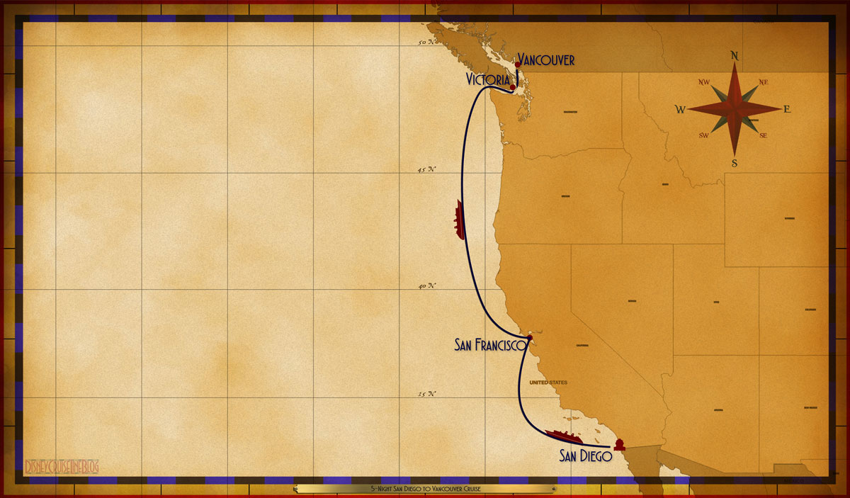 Map Wonder 5 Night San Diego To Vancouver Cruise B