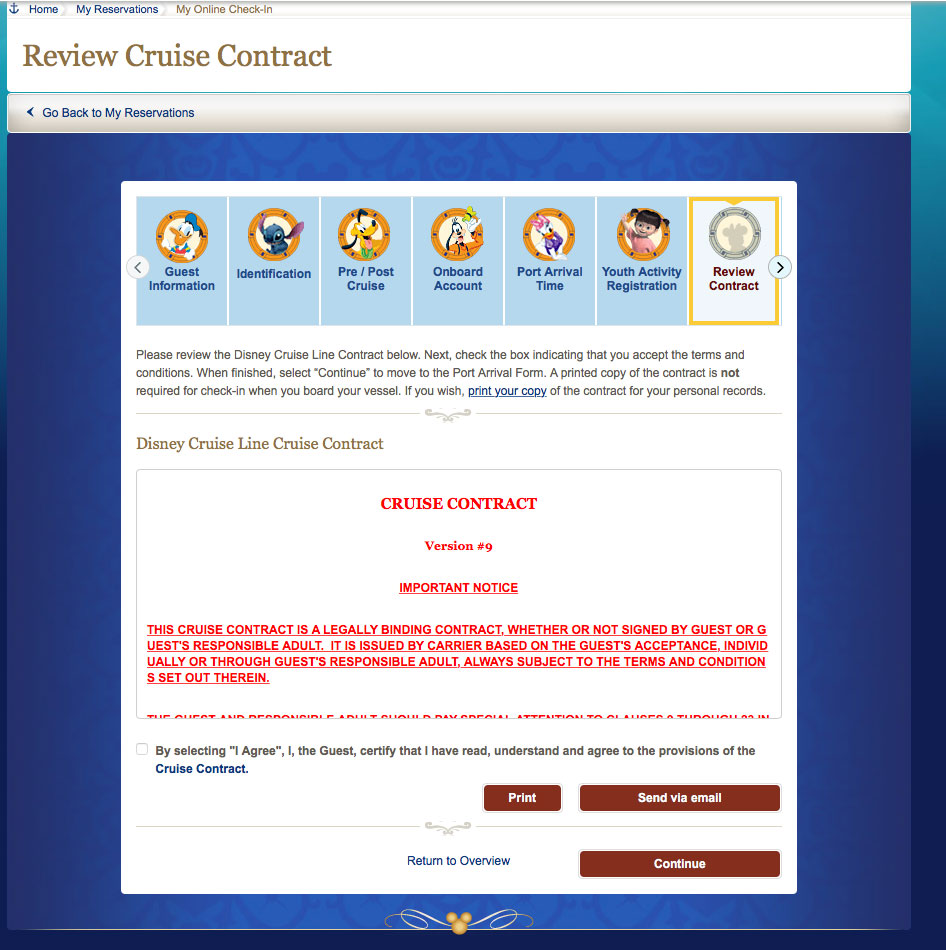 DCL My Online Check In Cruise Contract 2017