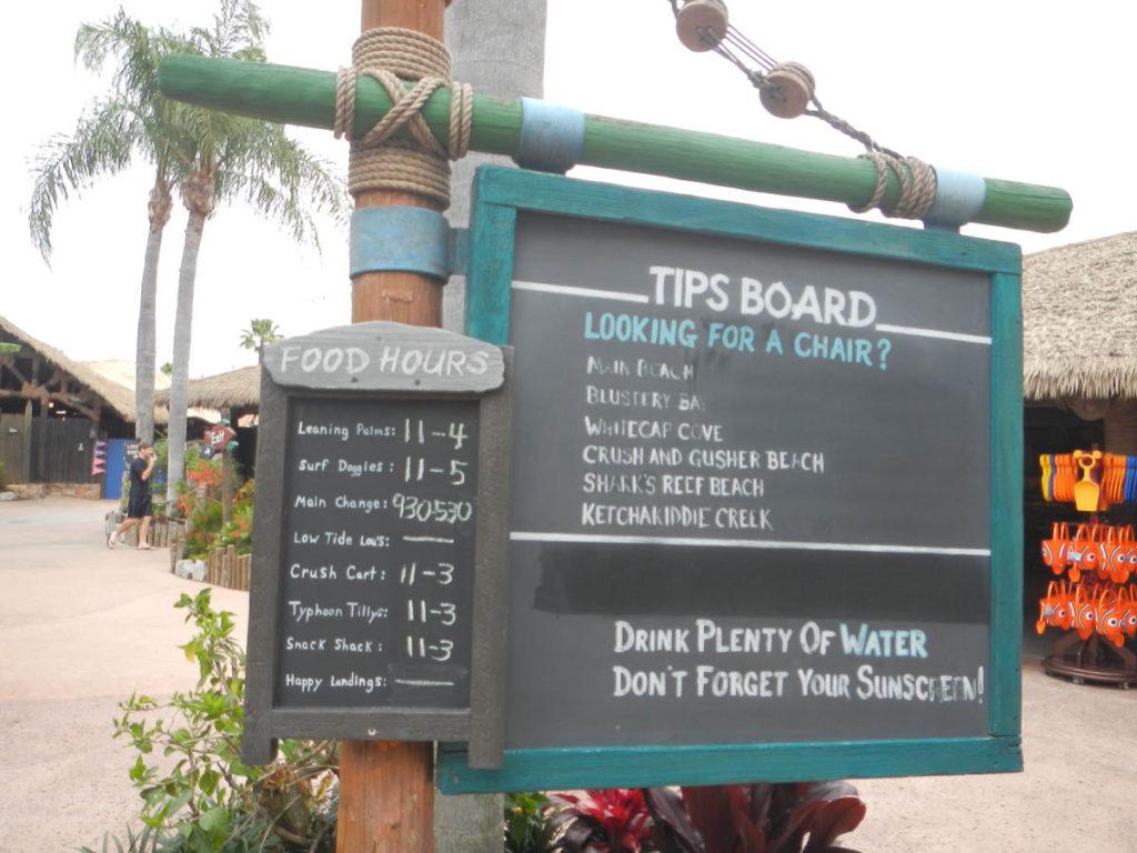 Typhoon Lagoon Tip Board