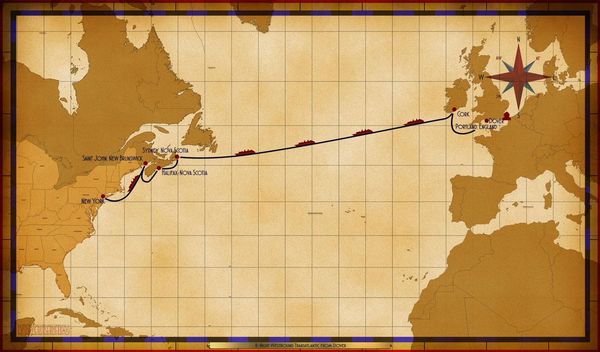 Map Magic 11 Night Westbound Transatlantic 2018