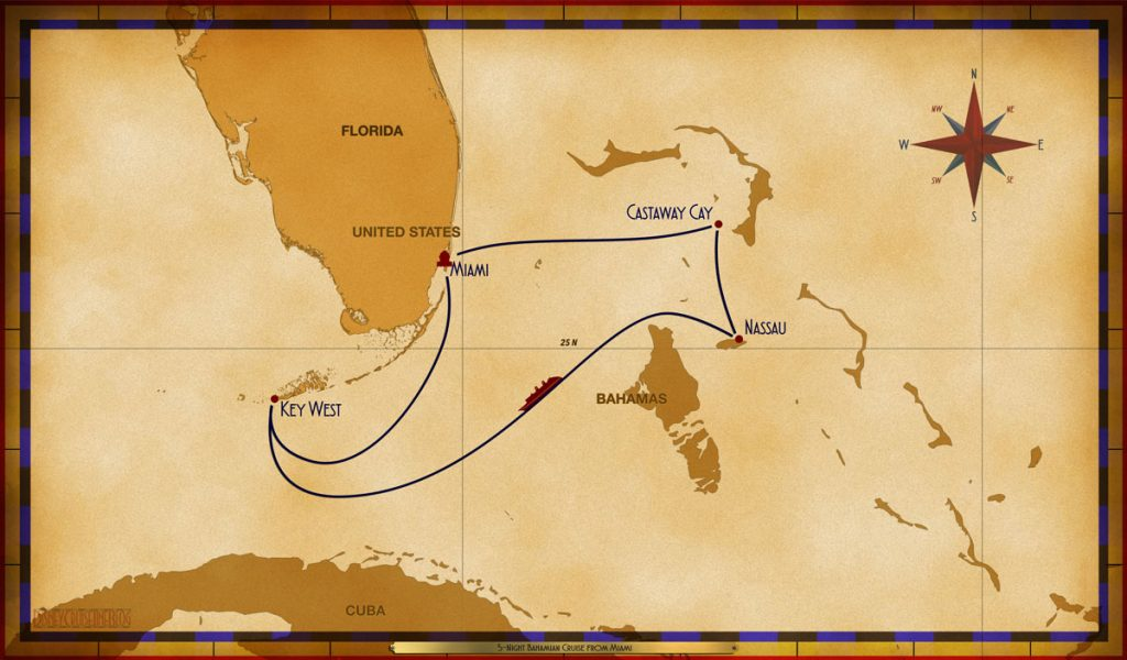 Map Magic 5 Night Bahamian Cruise MIA CC NAS SEA KW