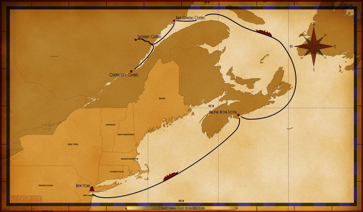 Map Of New York To Quebec Canada.Personal Navigators 7 Night Canada Cruise From New York To