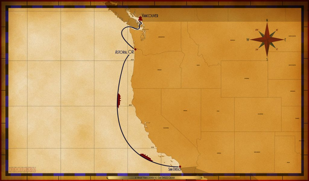 Map Wonder 4 Night Vancouver To San Diego VAN AST SEA SEA
